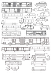Kinds Of Line Drawing Car Bus