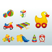 9 Brightly Colored Children's Toys Vector Set