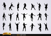 Set of dancing silhouettes