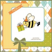 Cartoon Kids card with bee