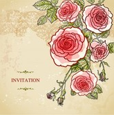 Abstract roses vintage wedding invitation