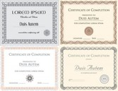 Set of vector certificates with sample and outlined text templates