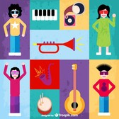 Music flat vector set